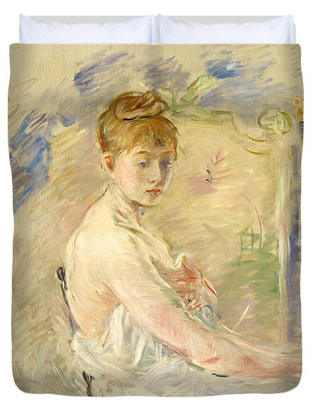 Young Girl Getting Up Duvet Cover by Berthe Morisot