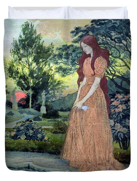 Young Girl In A Garden  Duvet Cover by Eugene Grasset
