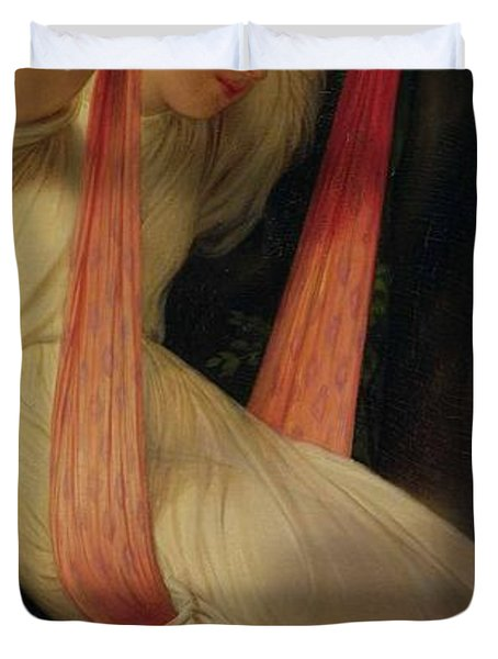 Young Girl On A Swing Duvet Cover by Hippolyte Delaroche