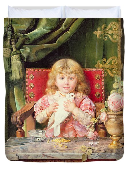 Young Girl With A Dove   Duvet Cover by Ignacio Leon y Escosura