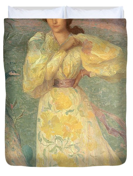Young Girl With A Peacock Duvet Cover