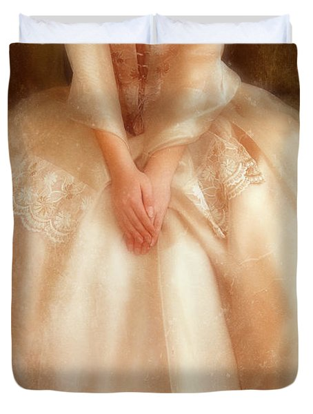 Young Lady Sitting In Satin Gown Duvet Cover by Jill Battaglia