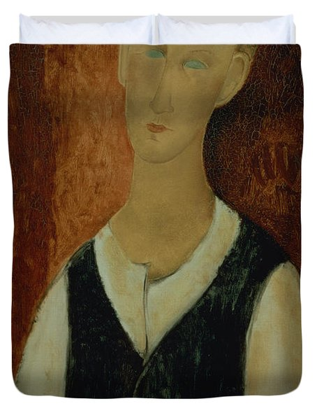 Young Man With A Black Waistcoat Duvet Cover by Amedeo Modigliani