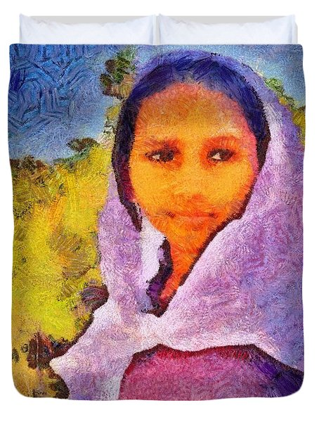 Young Moroccan Girl Duvet Cover