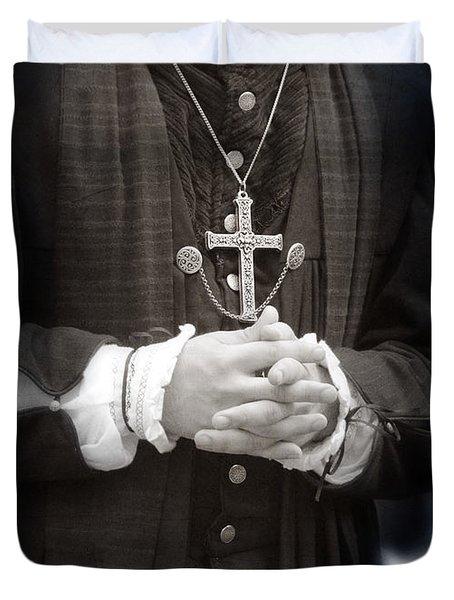 Young Renaissance Priest Duvet Cover by Jill Battaglia