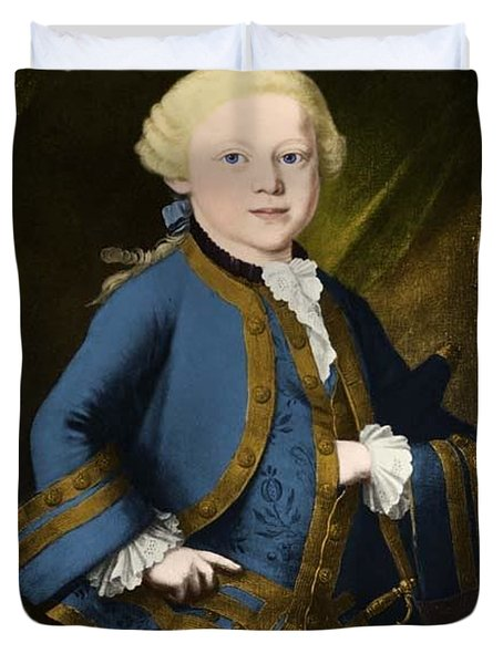 Young Wolfgang Amadeus Mozart, Austrian Duvet Cover by Omikron