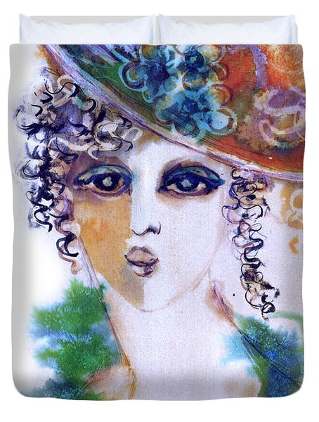 Young Woman Face With Curls In Blue Green Dress Purple Hat With Flower  Duvet Cover