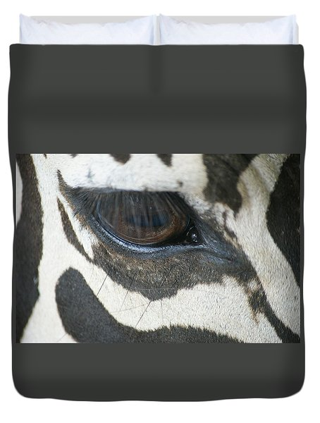 Duvet Cover featuring the photograph Zebra by Heidi Poulin