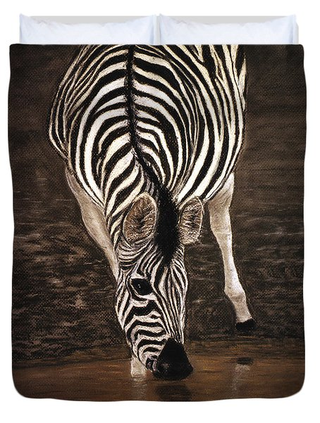 Duvet Cover featuring the painting Zebra by Karen Zuk Rosenblatt
