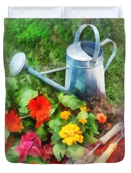 Zinnias And Watering Can Duvet Cover by Susan Savad