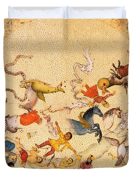 Zodiac Signs From Indian Manuscript Duvet Cover by Science Source