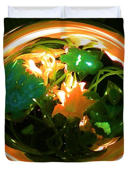 Duvet Cover featuring the photograph Zucchini Flowers Under Glass by George Pedro