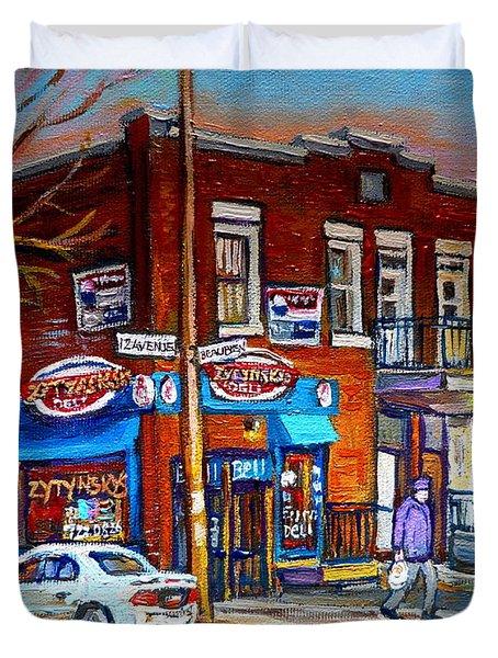 Zytynsky's Deli Montreal Duvet Cover by Carole Spandau