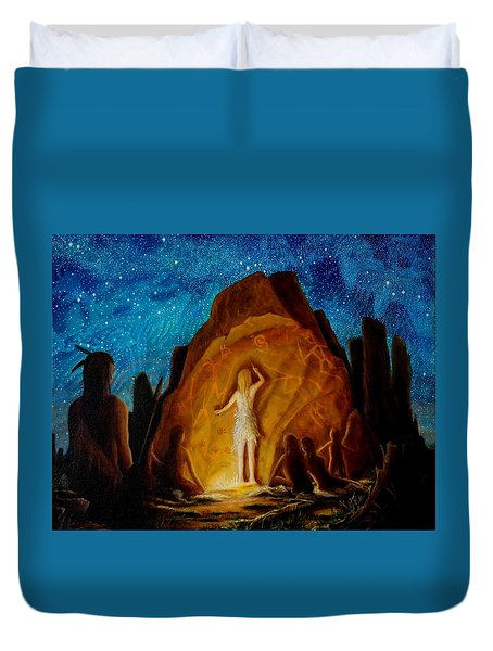 Duvet Cover featuring the painting . . . They Elected Her To Tell Their Story . . . by Matt Konar