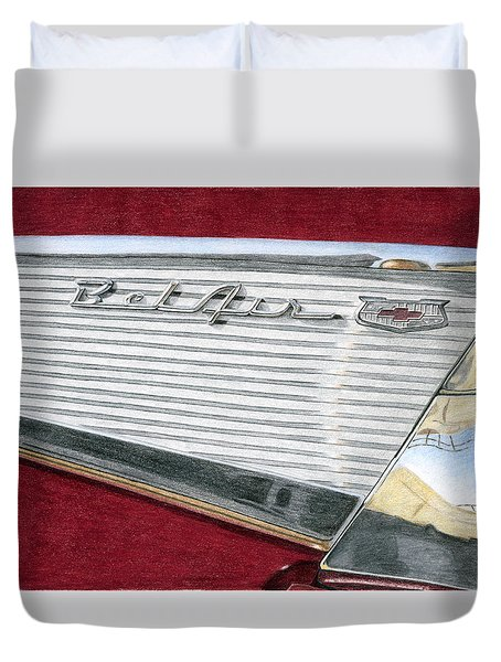 1957 Chevrolet Bel Air Convertible Duvet Cover by Rob De Vries