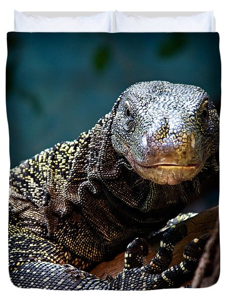 Duvet Cover featuring the photograph  A Crocodile Monitor Portrait by Lana Trussell