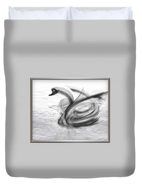 'a Fabric-ated Swan Melody ' Duvet Cover