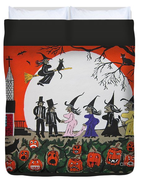 Duvet Cover featuring the painting  A Halloween Wedding by Jeffrey Koss