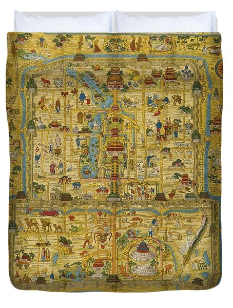 A Map And History Of Peiping Duvet Cover