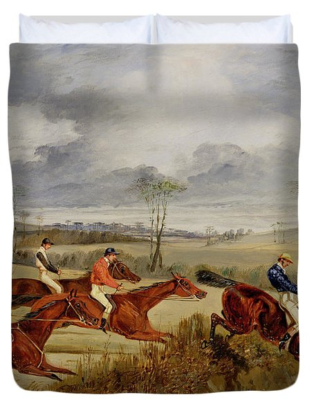 A Steeplechase - Near The Finish Duvet Cover by Henry Thomas Alken