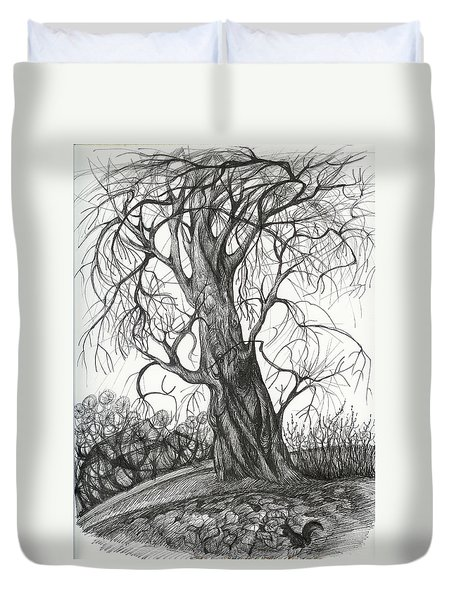 Duvet Cover featuring the drawing  Autumn Dancing Tree by Anna  Duyunova