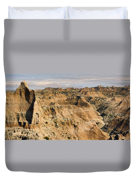 Duvet Cover featuring the photograph  Badlands South Dakota by John Hix