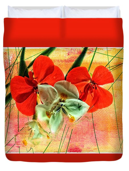Bougainvillea And Paper White Duvet Cover