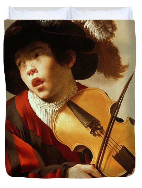 Boy Playing Stringed Instrument And Singing Duvet Cover