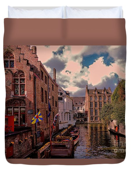 Duvet Cover featuring the photograph  Brugge Belgium by Mim White