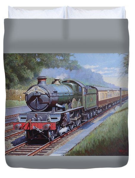 Duvet Cover featuring the painting  Castle Class In Sonning Cutting by Mike  Jeffries