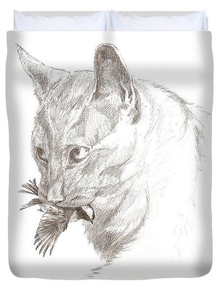 Cat And Chickadee Duvet Cover