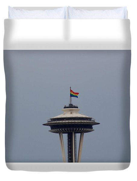 Celebrates Gay Pride  Duvet Cover by Suzanne Lorenz