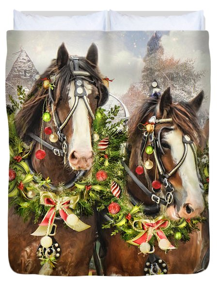 Duvet Cover featuring the digital art  Christmas Clydesdales by Trudi Simmonds