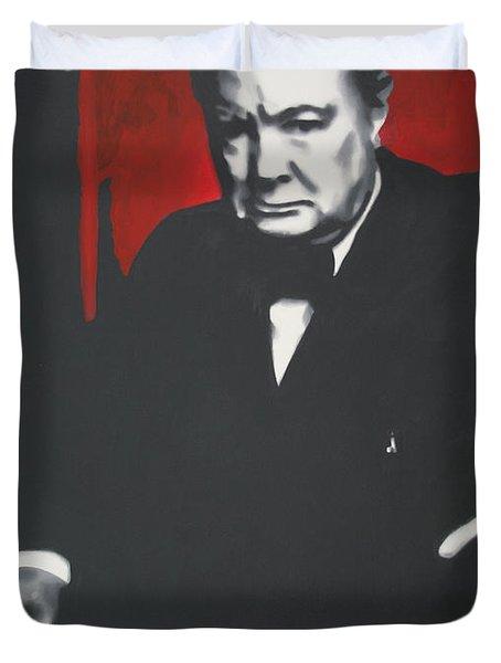 - Churchill - Duvet Cover by Luis Ludzska
