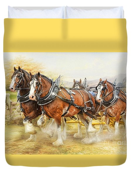 Duvet Cover featuring the digital art  Clydesdales In Harness by Trudi Simmonds