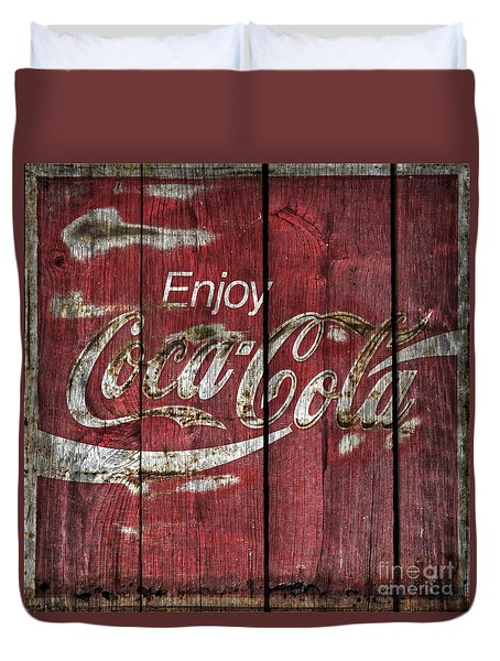 Coca Cola Sign Barn Wood Duvet Cover