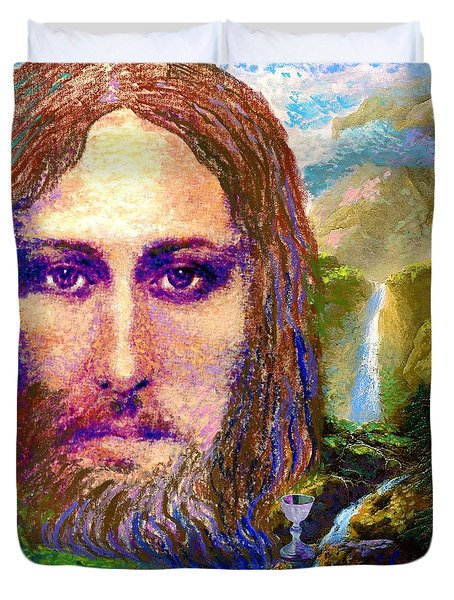 Duvet Cover featuring the painting  Contemporary Jesus Painting, Chalice Of Life by Jane Small