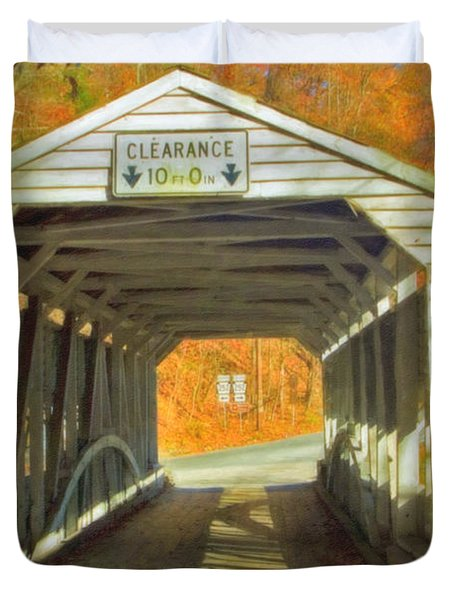 Duvet Cover featuring the photograph  Covered Bridge Watercolor  by David Zanzinger