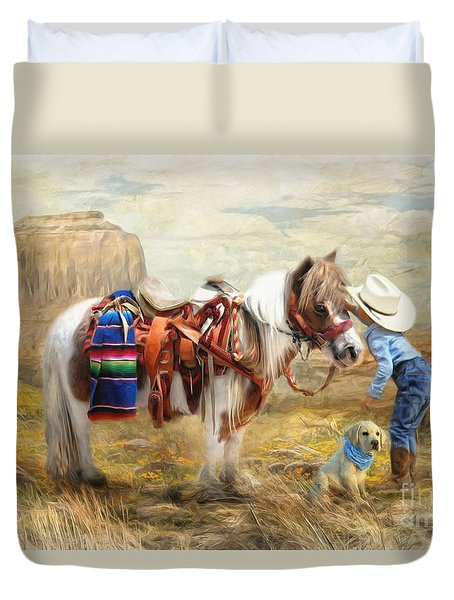 Duvet Cover featuring the digital art  Cowboy Up by Trudi Simmonds