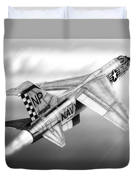 F-8e Crusader Drawing Duvet Cover
