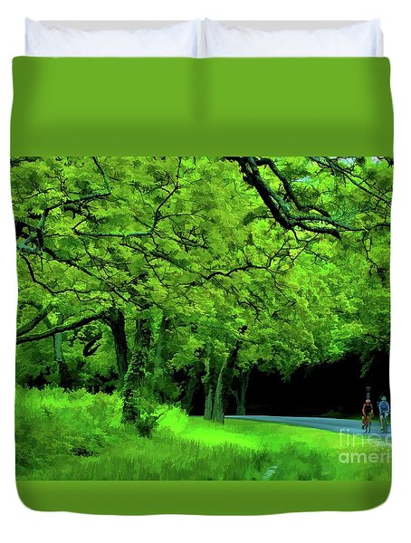 Faire Du Velo Duvet Cover by Diana Mary Sharpton