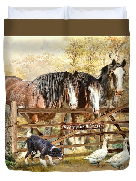 Duvet Cover featuring the digital art  Featherwell Farm by Trudi Simmonds