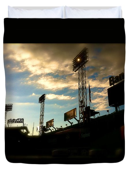 Duvet Cover featuring the photograph  Fenway Lights Fenway Park David Pucciarelli  by Iconic Images Art Gallery David Pucciarelli