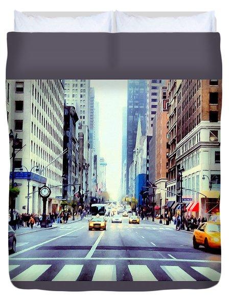 Fifth Avenue In Manhattan  Duvet Cover