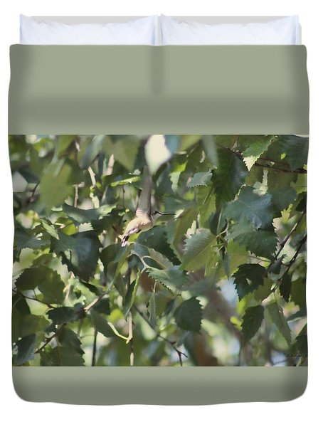 Duvet Cover featuring the photograph  Flight Of The Hummingbird by Debra     Vatalaro