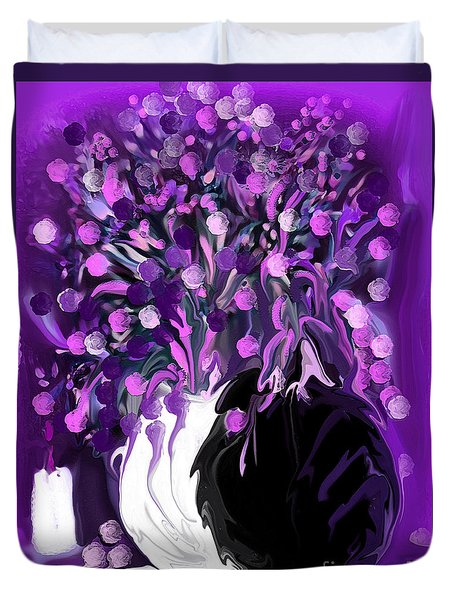 Flower Art Love Purple Flowers  Love Pink Flowers Duvet Cover