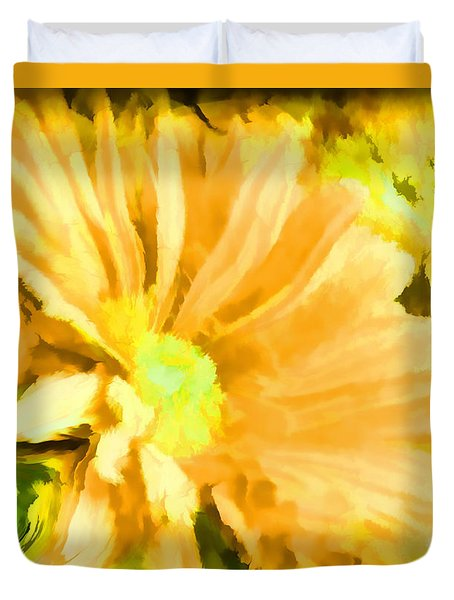 Duvet Cover featuring the photograph   Flower Art Mellow Yellow By Sherriofpalmsprings by Sherri  Of Palm Springs
