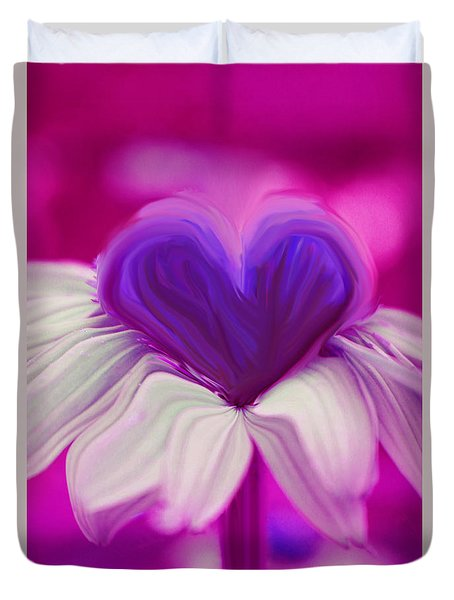 Duvet Cover featuring the photograph  Flower Heart by Linda Sannuti