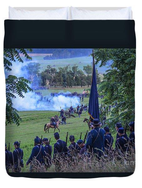 Gettysburg Union Artillery And Infantry 7457c Duvet Cover