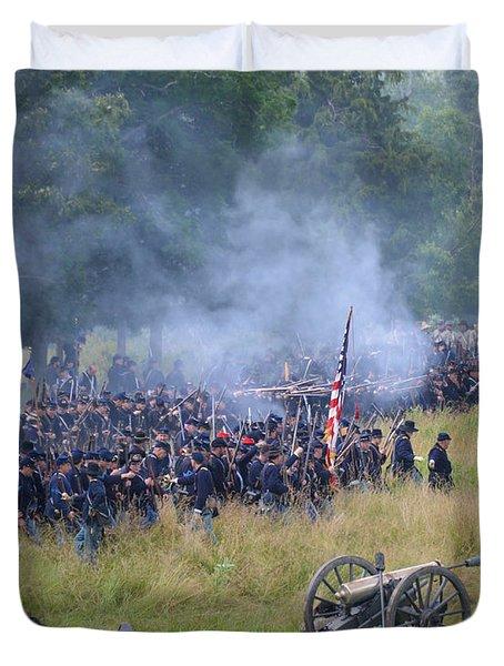 Gettysburg Union Artillery And Infantry 8456c Duvet Cover